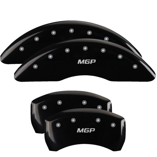 MGP Caliper Covers 38026SMGPBK Set of 4 caliper covers, Engraved Front and Rear: MGP, Black powder coat finish, silver characters.