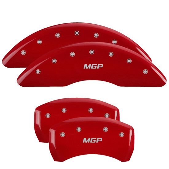 MGP Caliper Covers 38026SMGPRD Set of 4 caliper covers, Engraved Front and Rear: MGP, Red powder coat finish, silver characters.