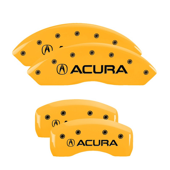 MGP Caliper Covers 39001SACUYL Set of 4 caliper covers, Engraved Front and Rear: Acura, Yellow powder coat finish, black characters