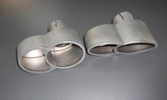 AP-997TT-171TI-HBFV Quad Oval Exhaust Tips Satin Titanium 07-09 Porsche 997 Turbo Agency Power