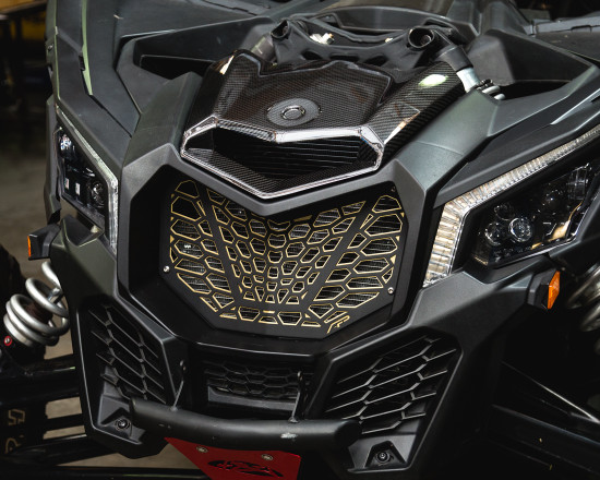 AP-BRP-X3-635-BR-HBFV Premium Grill Black Red Can-Am Maverick X3 Agency Power