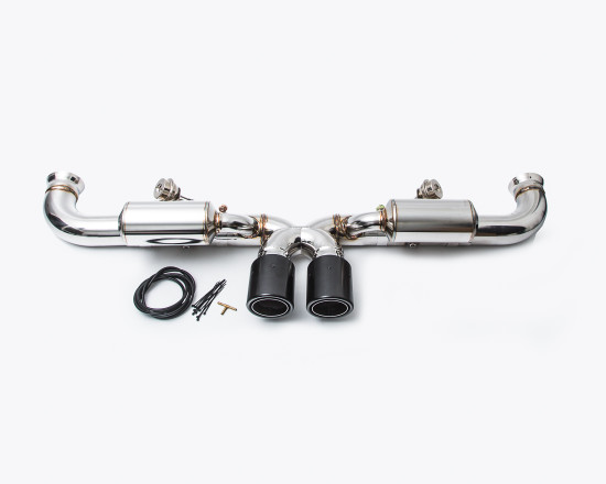 AP-991GT3-170P-HBFV Valved Exhaust System 14-16 Porsche 991 GT3   GT3RS Polished Agency Power