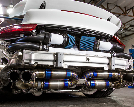 AP-991TT-179-HBFV Blued Titanium Performance Racing Muffler with Carbon Fiber Exhaust Tips Porsche 991 Turbo Agency Power