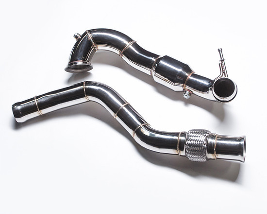 AP-CLA45-172-HBFV Highflow 200 Cell Catted Two Piece Down Pipe A45 AMG | CLA45 AMG | GLA45 AMG Agency Power
