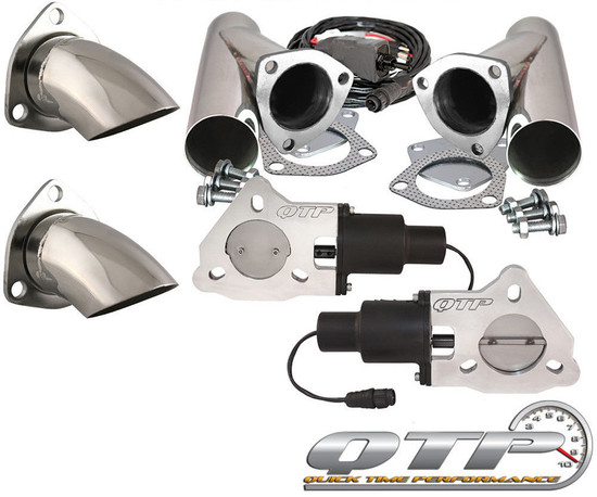 "QTP QTEC60CPS-K1 Quick Time Performance 3"" Dual Electric Exhaust Cutouts Remote"