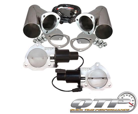 "QTP QTEC70CP Quick Time Performance 3.5"" Dual Electric Exhaust Cutouts Y-Pipes"