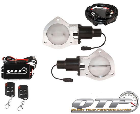 """QTP QTEC70K Quick Time Performance 3.5"""" Dual Electric Exhaust Cutouts Remotes"""