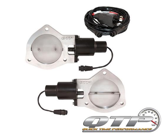 "QTP QTEC80 Quick Time Performance 4"" Dual Electric Exhaust Cutouts New Switch"