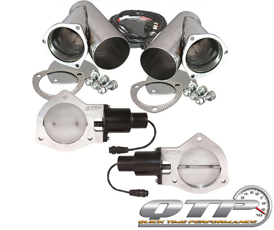 "QTP QTEC80CP Quick Time Performance 4"" Dual Electric Exhaust Cutouts Y-Pipes New"