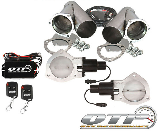 "QTP QTEC80CPSK Quick Time Performance Dual 4"" Electric Exhaust Cutout Wireless"