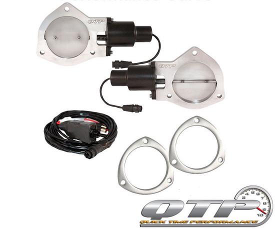 "QTP QTEC80F Quick Time Performance 4"" Dual Electric Exhaust Cutout Remote Flange"