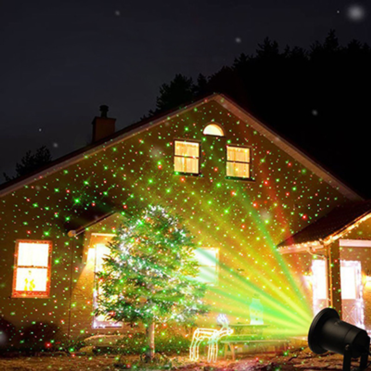 Red//Green Laser Dots w//Remote LED Laser Christmas Holiday Projectors Waterproof Indoor or Outdoor Use All Year Long
