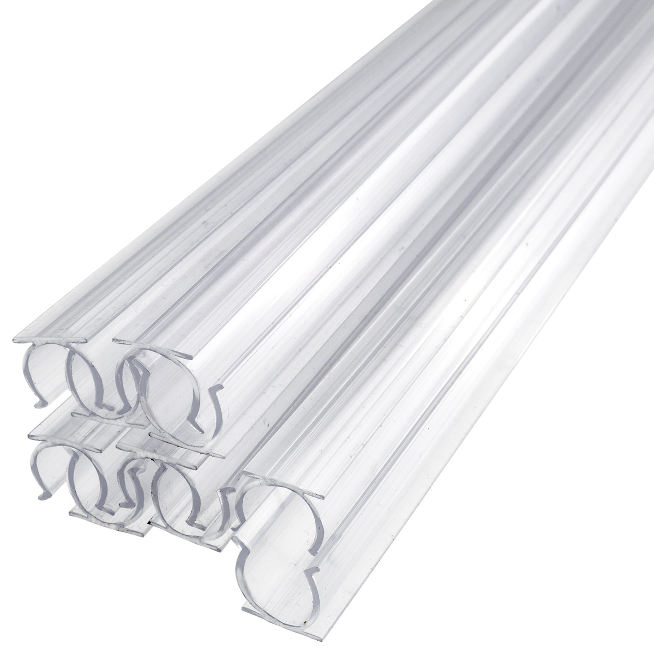 24 Inch x 1/2 Inch Rope Light Mounting Track - Clear PVC Channel (10 Pack)  - 12/120 Volt