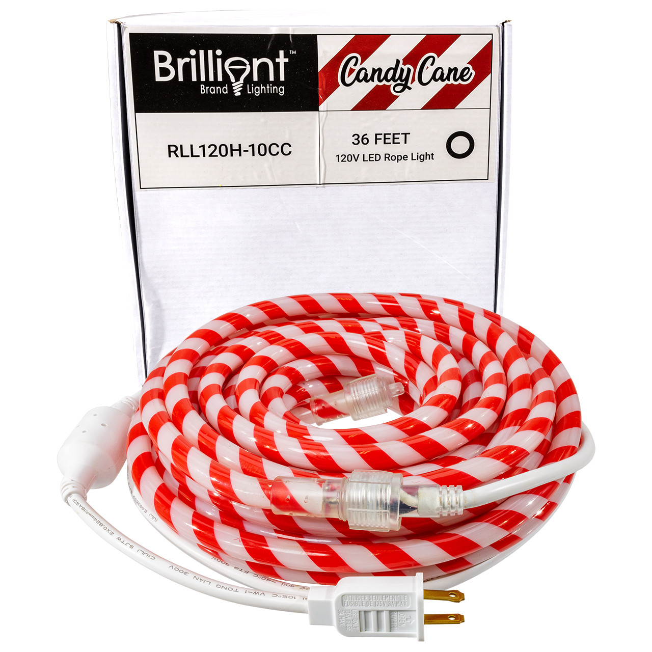 Candy Cane Led Rope Light 120 Volt 36 Feet Birddog Lighting