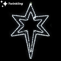 33 inch cool white led rope light Bethlehem star motif with twinkling center