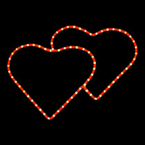 23 inch red rope light double hearts motif
