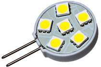 6 led 12 volt warm white g4 bulb - side - 120 deg