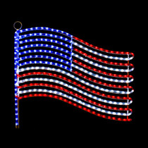 24 inch red cool white and blue led rope light usa flag motif