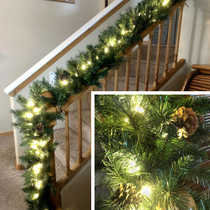 9 Foot Lighted Christmas Garland with Pinecones