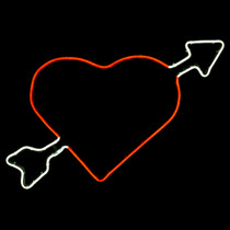 22.5 Inch Cool White & Red LED Neon Heart with Cupids Arrow Motif
