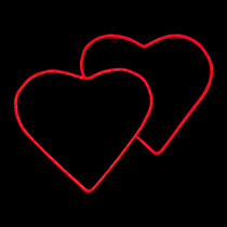 23 Inch Red LED Neon Double Heart Motif