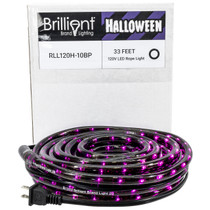 Purple LED Rope Light - Halloween Edition with Black PVC - 120 Volt - 33 Feet