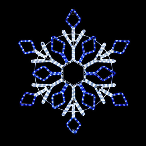 32 Inch Cool White and Blue LED Rope Light Snowflake Motif v2