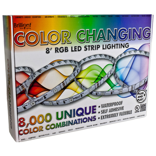 8ft rgb color changing led strip light bundle - 12 volt - smd-5050 - ip65
