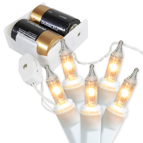 Battery Operated Mini String Lights - White Wire With Clear Bulbs - 6.5 Feet