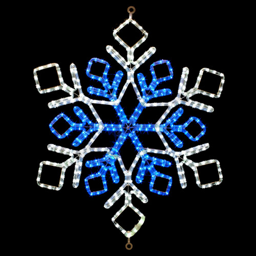 31 inch cool white and blue led rope light snowflake motif