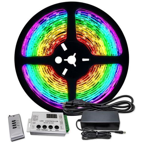 16.4ft rgb color changing chasing led strip light bundle - 12 volt - smd-5050 - ip67