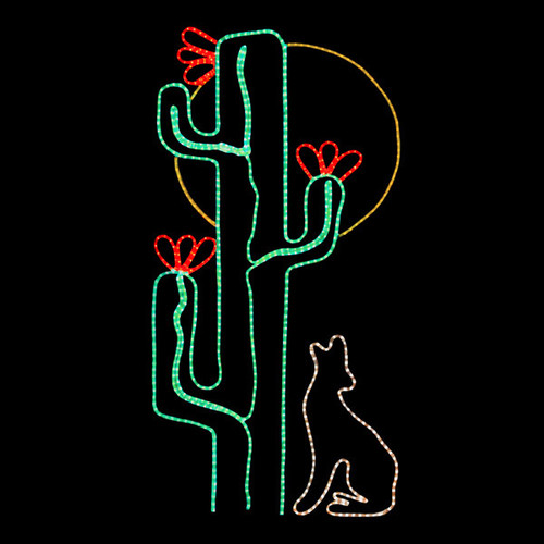 72 inch multi-color led rope light saguaro cactus with coyote and moon motif