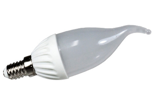 warm white 3w led frosted flame tip candle light bulb - e14 base