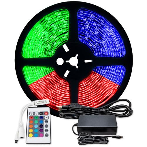 16.4ft rgb color changing led strip light bundle - 12 volt - smd-5050 - ip65