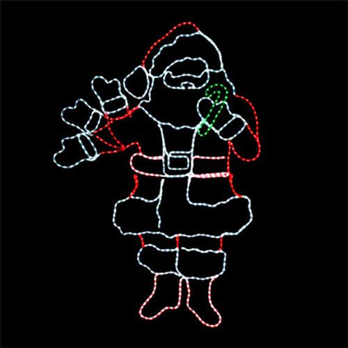 6 foot animated multi-color led rope light waving santa motif