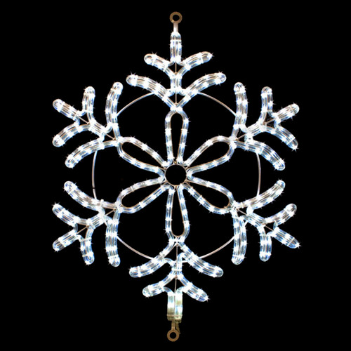 24 inch cool white led rope light snowflake motif v6