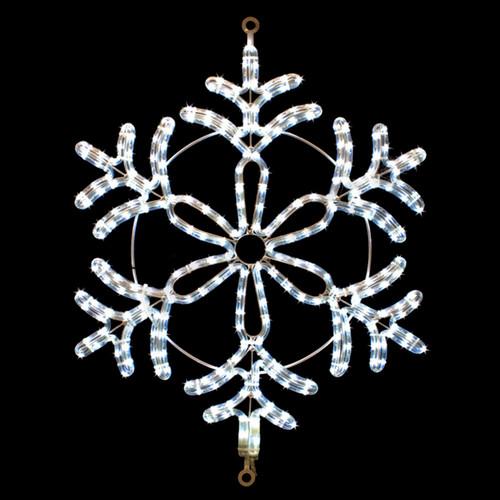 24 inch cool white led rope light snowflake motif v6
