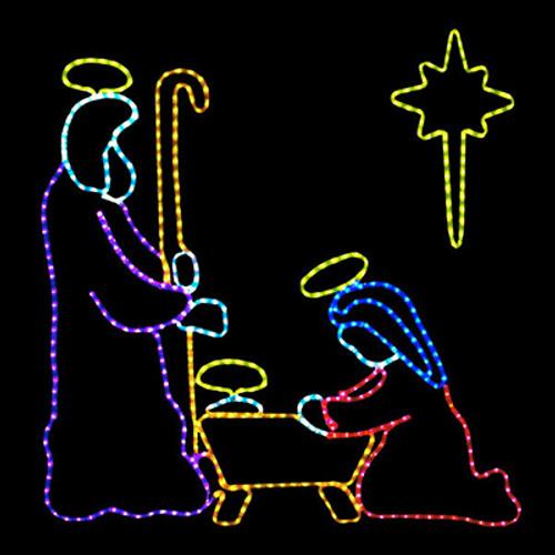 4 foot multi-color led rope light nativity manger scene motif