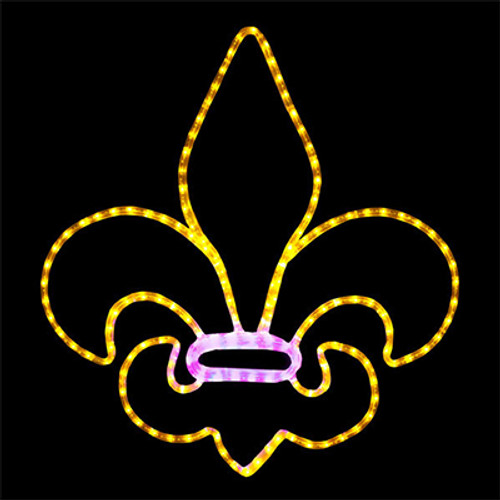 24 inch yellow and pink led rope light fleur de lis motif
