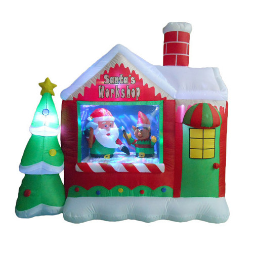 6 foot santas workshop with elf led christmas inflatable