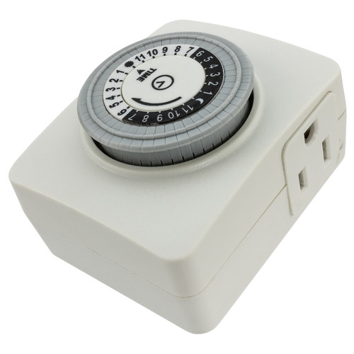 Indoor 24 Hour Plug In Mechanical Timer Outlet- 120 Volt
