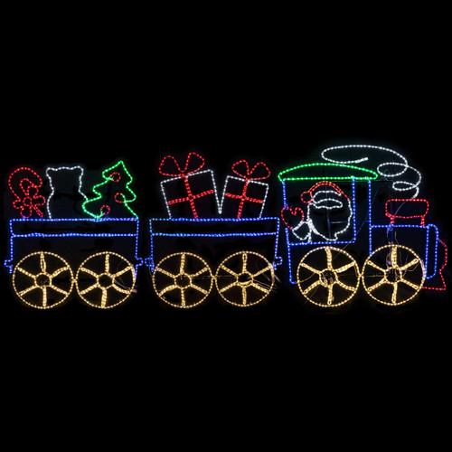 11 Foot Animated Multi-Color LED Rope Light Christmas Santa Train Motif