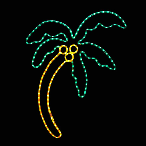 34 inch green and yellow led rope light palm tree motif