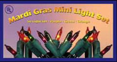 50 mardi gras mini lights with green wire