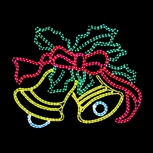 4 foot animated multi-color led rope light ringing bells motif