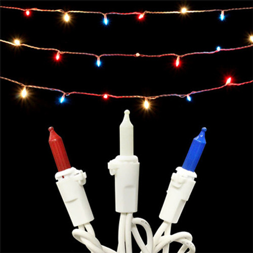 50 red white and blue mini light set