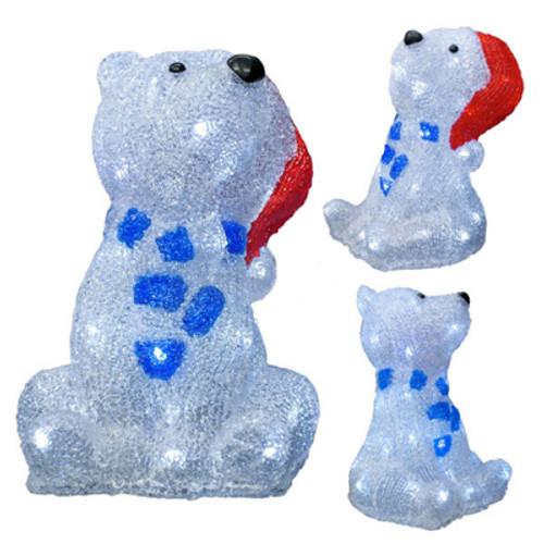 10 inch 3d led acrylic polar bear motif with santa hat