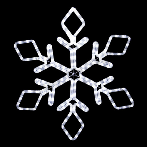 22 inch cool white led rope light snowflake motif