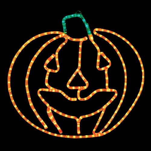 24 inch orange and green led rope light halloween jack o lantern motif