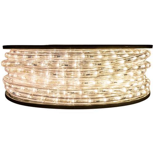 "148' Warm White LED rope light spool. 120 Volts. Brilliant Brand. 1/2"" diameter."